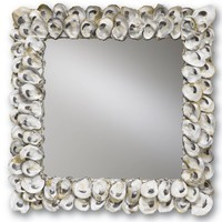 Currey &amp; Co Oyster Shell Mirror, Square - Currey-co-1348 | Candelabra, Inc.
