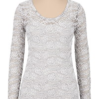 Long sleeve floral lace tee