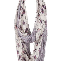 floral and plaid mixed print infinity scarf