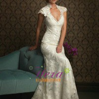 Mermaid / Trumpet Cap Sleeve Lace Wedding Dress