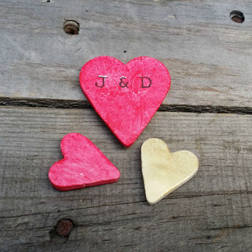 Personalized Rustic Wedding Heart Favor Magnets, Shabby Chic Guest Favors, Party Favor, Bridal Shower, Baby Shower
