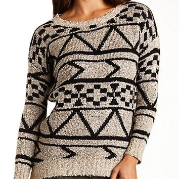 Marled Geometric Print Tunic Sweater by Charlotte Russe - Taupe Combo