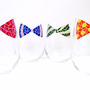 Mosaic Painted Bow Tie Wine Glasses- Set of 4