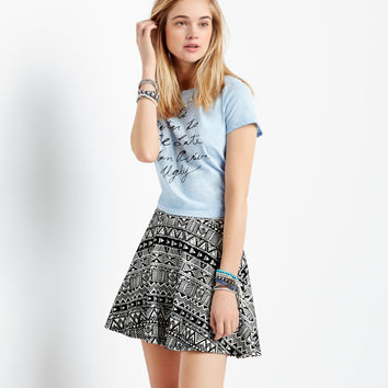 Aeropostale Geo Flocked Skirt - Cream,