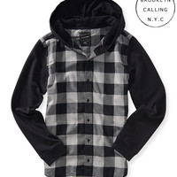 Aeropostale Brooklyn Calling Long Sleeve Hooded Plaid Woven Shirt - Sharkfin,