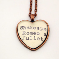 Shakespeare necklace, Romeo and Juliet, Dewey Decimal, book necklace, gifts for teachers, literary jewelry, Shakespeare fan gift