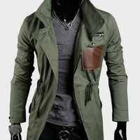 Hot Sale Fashion Stand Collar Cotton Male Coat Army Green M/L/XL/XXL @S5J08-1ag $49.04 only in eFexcity.com.