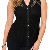 Black Plus Size Sexy Sheer Scalloped Lace Button Down Top