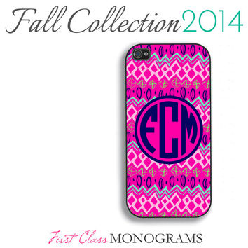 Pink and Navy Blue Aztec Pattern Monogram Phone Case Fall Collection - iPhone 4,4s,5,5s,5c; Galaxy S3,S4,S5; iPod 4,5 Limited Edition Tribal