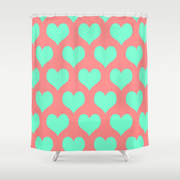 Hearts of Love Coral Mint Shower Curtain by Beautiful Homes