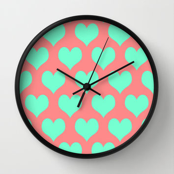 Hearts of Love Coral Mint Wall Clock by Beautiful Homes