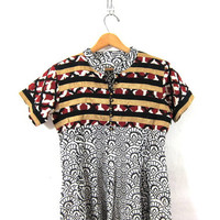 vintage Indian dress caftan. black and white cotton print dress with bells