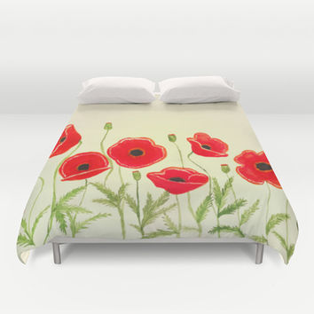 Watercolor poppies Duvet Cover by Armine Nersisian