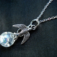 Swallow Bird Crystal Crackle Glass Marble Necklace