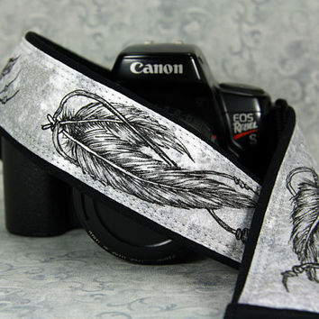 Feathers Camera Strap, Hand Painted, Pen and Ink, One of a Kind, Artisan Series, dSLR or SLR, Tribal, Black, grey, gray, 14-11