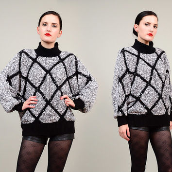 80s 90s Diamond Stripe Sequin Top Slouchy Batwing Angora Wool Turtle Neck Sweater Jumper Top White Black M L XL