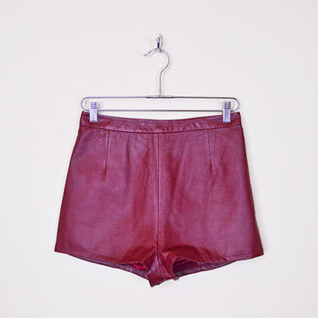 Vintage 80s 90s Oxblood Burgundy Red Maroon Leather Short High Waist Short Hot Pant Motorcycle Short Moto Short Biker Short Grunge M Medium