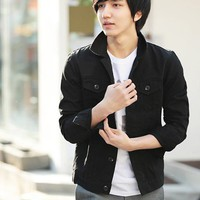 Fashion Stand Collar Blends Men's Casual Jacket Black M/L/XL @S5J05-1b-1 $34.45 only in eFexcity.com.