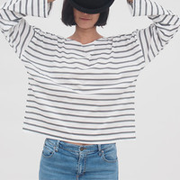 Oversize long sleeves Tshirt , Grey Stripy Top, Women Casual Shirt