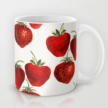 Strawberries Pattern Mug by Heart of Hearts Designs