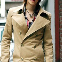 Korean Style Button Decorated Cotton Pure Color Man Jacket Yellow M/L/XL/XXL @S5216-1y $39.23 only in eFexcity.com.