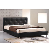Baxton Studio Barbara Modern Bed with Crystal Button Tufting