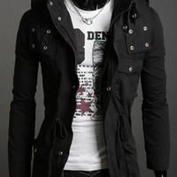 Vogue Style Men's Slim Casual Blends Coat Black M/L/XL/XXL @S5J05-1b $53.83 only in eFexcity.com.