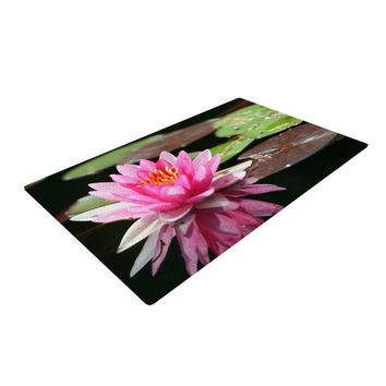 "Angie Turner ""Water Lily"" Green Pink Woven Area Rug"