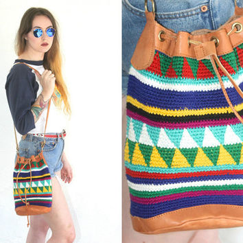Vintage LEATHER KNIT Guatemalan Tan Multi Print Bucket Crossbody Bag // Ethnic Drawstring // Southwestern Hipster Boho Gypsy Hippie
