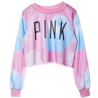 So'each Women's Colorful Tie Dye and Pink Letters Print Midriff Crop Sweatshirt (Pink)
