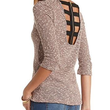 Caged Zipper Back High-Low Top by Charlotte Russe - Mauve Combo
