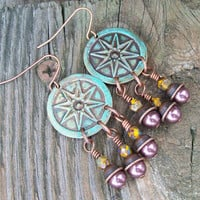 Compass Star Patina Earrings - Beaded Dangle Earrings