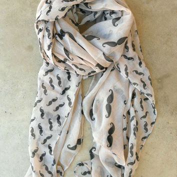 Cheeky Mustache Scarf [3496] - $16.00 : Vintage Inspired Clothing & Affordable Dresses, deloom | Modern. Vintage. Crafted.