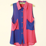 Color Block Chiffon Blouse with Oversized Pockets