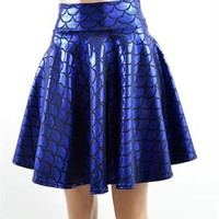 Royal Blue Mermaid Scale Skater Skirt