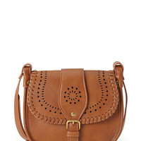 Perforated Faux Leather Crossbody