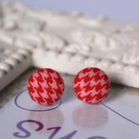 Red And Pink Houndstooth Button Ear.. on Luulla