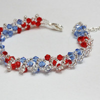 Red and blue crystal bracelet
