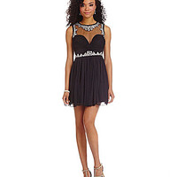 B. Darlin Embellished Illusion Mesh Party Dress - Black
