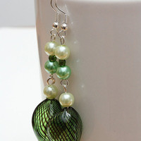 Lampwork green earrings with glass pearl beads