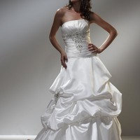 Strapless Ballgown Wedding Gown Silver Embroidery Detail with Warovski Crystals YSPWD0029 - $132.88 : DressLoves.com.