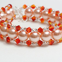 Orange glass pearl and Swarovski bracelet