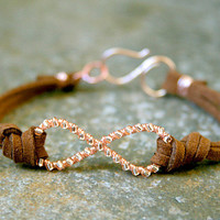 Rose Gold Infinity Bracelet Wire Wrapped Enameled Copper and Suede