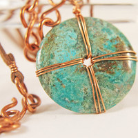 Wire Wrapped Turquoise on Copper and Leather Chain