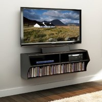 Prepac Altus Wall Mounted Home Entertainment Console in Black: Furniture & Decor