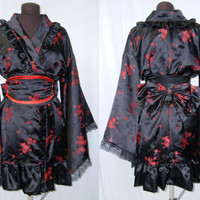 Gothic Lolita Kimono Dress Cosplay Costume Black and Red