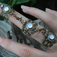 slave ring triple armor ring nail ring  goth victorian steampunk moon goddess pagan witch boho gypsy style