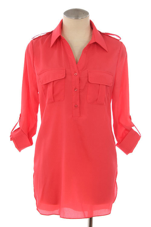 Solid CORAL Woven Roll Up Sleeve Collared Button Up Blouse