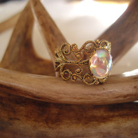 Victorian ring with a rainbow colored stone