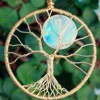 18k Solid Gold and Moonstone Tree of Life Pendant by Ethora